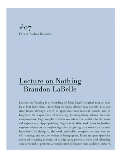 brandon labelle - lecture on nothing